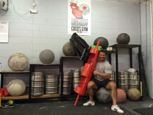 A recent photo of Coco with some of his collection of Strongman Equipment including the new Strongman Log