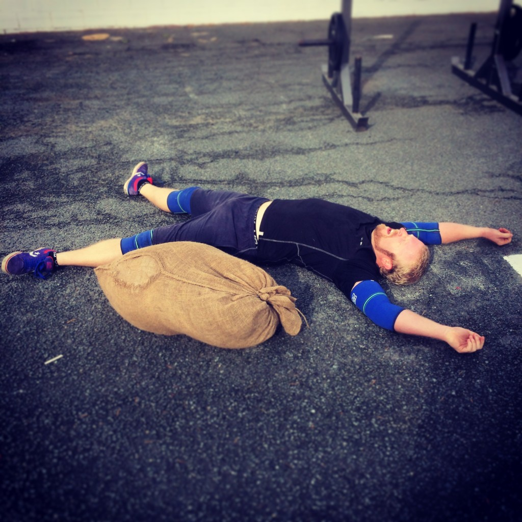 chad playing dead after the strength and conditioning circuit