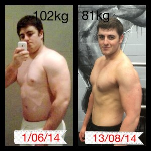 Tristan dropped 21 kg in only 10 weeks by following his weight loss program at Coco's gym Bundall