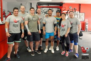 Strongman Gold Coast Training Group Photo with the new shirts.