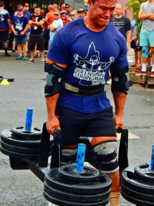 Coco with 160kgs per hand farmers walk, Coco went on to win this event